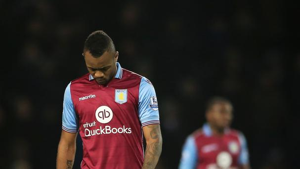 Jordan Ayew was sent off as Aston Villa crashed at West Ham