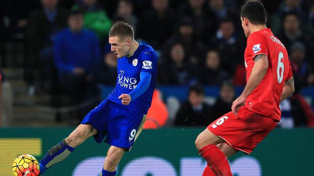 Leicester forward Jamie Vardy (left) scored a contender for goal of the season in the 2-0 win over Liverpool