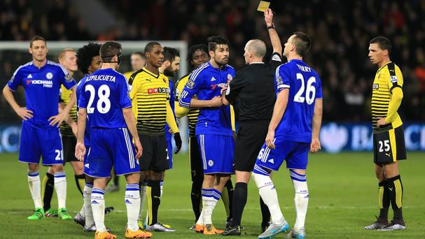 Chelsea's Diego Costa was booked following the clash with Juan Carlos Paredes