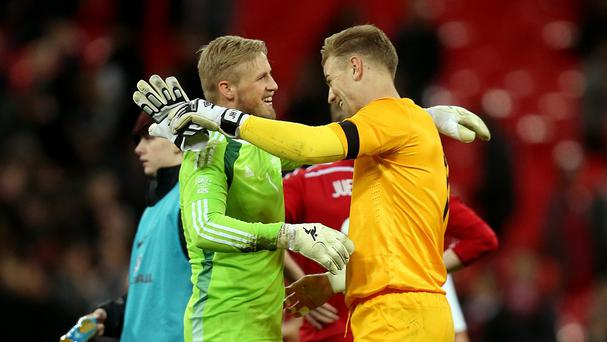 Former team-mates Joe Hart (right) and Kasper Schmeichel (left) will meet again this weekend