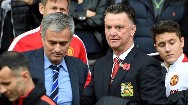 Jose Mourinho, left, and Louis van Gaal, right, are former touchline rivals