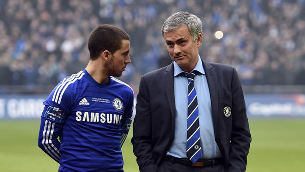 Eden Hazard and Jose Mourinho in happier times.