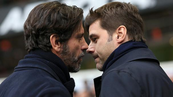 Mauricio Pochettino's, right, Tottenham moved up to second in the Premier League table after a 1-0 win over Watford