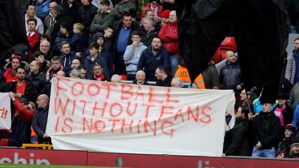 Liverpool fans at Anfield last weekend
