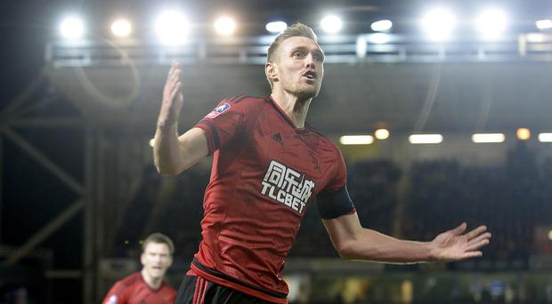 West Brom's Darren Fletcher celebrates his equaliser in their FA Cup penalty win at Peterborough.