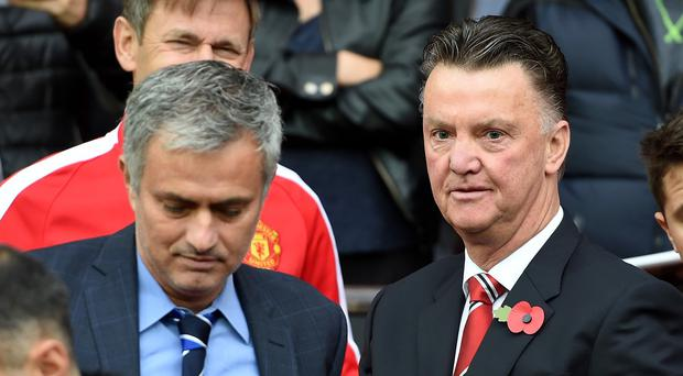 Speculation has linked Jose Mourinho, left, with a move to replace Louis van Gaal, right, at Manchester United