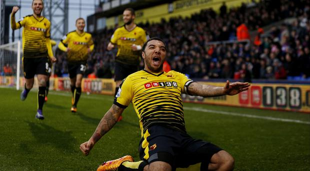 Troy Deeney's two goals secured Watford a 2-1 Premier League victory at Crystal Palace