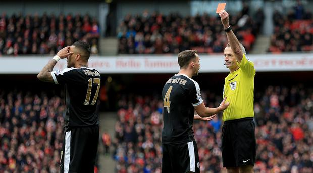 Danny Simpson, left, was sent off by Martin Atkinson and Danny Drinkwater could have followed