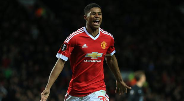 Manchester United's Marcus Rashford marked his senior debut with a brace on Thursday