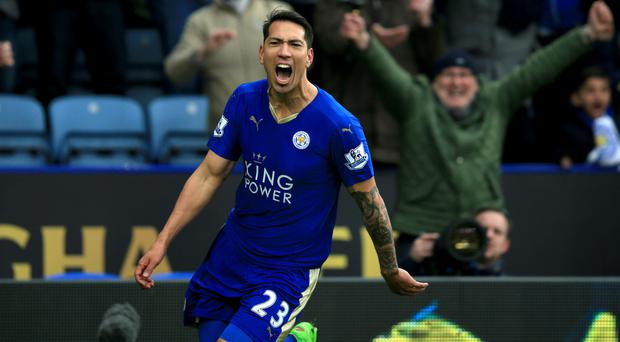 Leicester's Leonardo Ulloa celebrates after his late winner handed the Foxes a 1-0 victory over Norwich