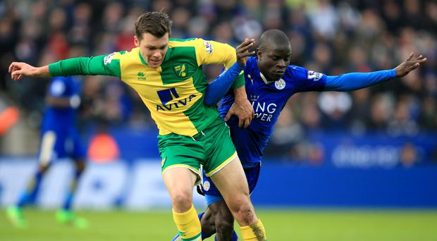 N'Golo Kante, right, battles with Jonny Howson before coming off in Leicester's 1-0 win over Norwich on Saturday