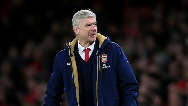 Arsenal manager Arsene Wenger shows his frustration on the touchline