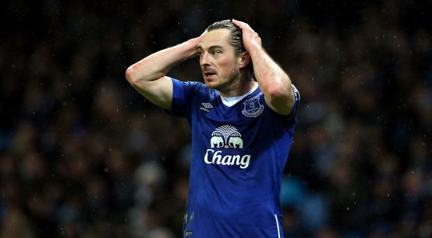 Everton boss Roberto Martinez has revealed Leighton Baines (pictured) played through the pain after coming on against Aston Villa.