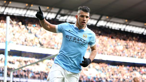 Sergio Aguero turns away after scoring his second against Aston Villa