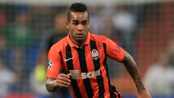 Alex Teixeira, pictured playing for Shakhtar Donetsk, joined Jiangsu Suning for 50million euros