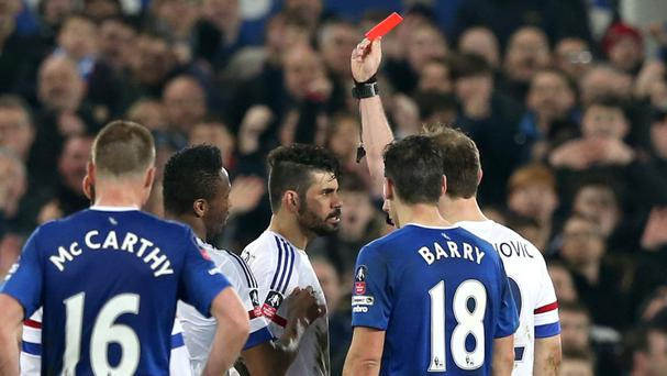 Chelsea's Diego Costa, centre, was sent off in the FA Cup game against Everton