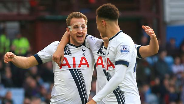 Harry Kane, pictured left, netted a brace as Tottenham won at Villa Park
