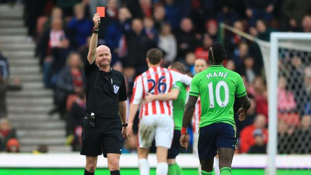 Sadio Mane was sent off at Stoke on Saturday