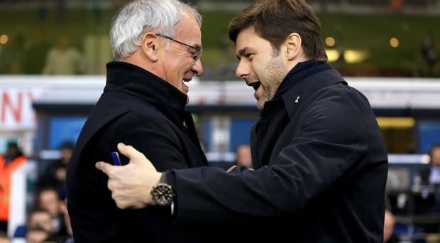 Leicester boss Claudio Ranieri (left) and Tottenham manager Mauricio Pochettino looks set to go head-to-head in the title run-in.