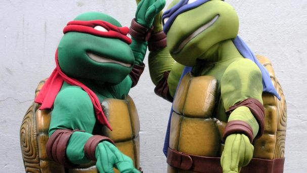 Teenage Mutant Ninja Turtles Raphael, left, and Donatello