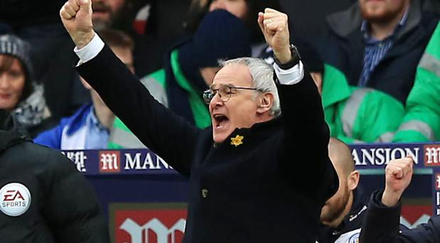 Leicester City manager Claudio Ranieri celebrates his team's 1-0 victory at Crystal Palace
