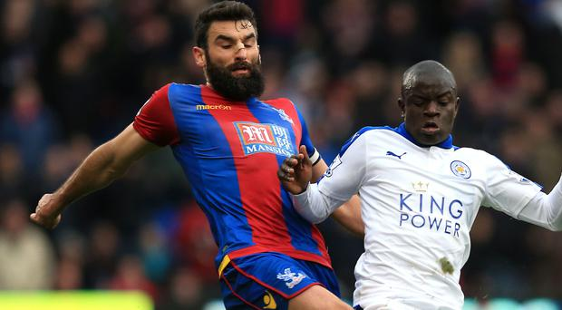 Leicester's N'Golo Kante, right, was influential in helping them keep a clean sheet at Crystal Palace