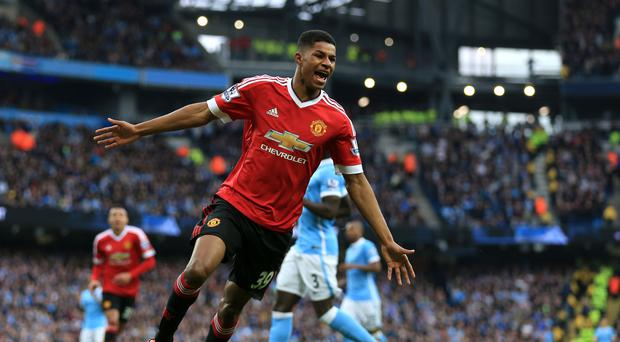 Marcus Rashford has five goals in eight senior appearances for Manchester United after netting the winner in Sunday's derby