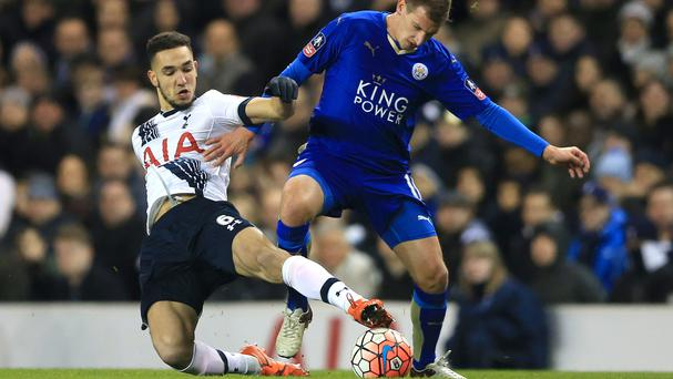 Tottenham's Nabil Bentaleb, left, injured his left knee in an under-21s match against Leicester