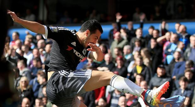 Chelsea's Pedro celebrates scoring his side's fourth goal at Villa Park