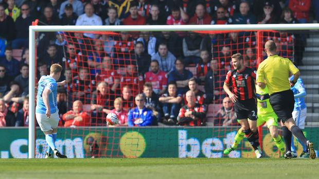 Kevin De Bruyne scores Manchester City's second goal at Bournemouth
