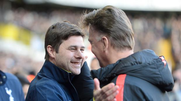Mauricio Pochettino, left, and Louis van Gaal, right, go head to head on Sunday