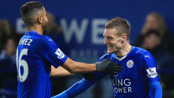 Jamie Vardy, right, and Riyad Mahrez