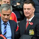 Jose Mourinho, left, could be replacing Louis van Gaal, right, at Old Trafford