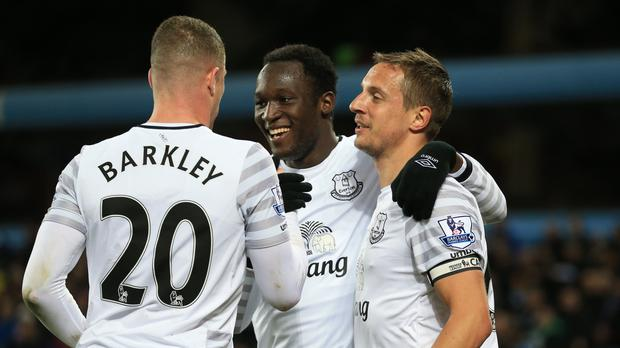 Romelu Lukaku, centre, Ross Barkley, left, and Phil Jagielka could all miss out against Southampton on Saturday