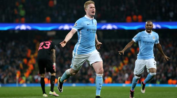 A goal from Kevin De Bruyne helped Manchester City reach the semi-finals of the Champions League for the first time
