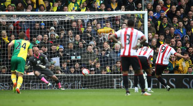 Sunderland's Fabio Borini, far right, opened the scoring against Norwich with a penalty