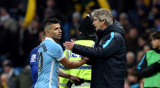 Manchester City boss Manuel Pellegrini, right, was once again full of praise for Sergio Aguero, left