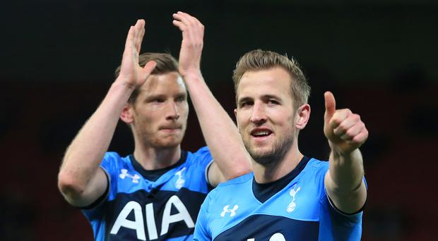 Tottenham kept the pressure on league leaders Leicester with victory at Stoke