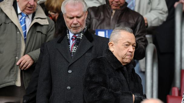 West Ham United owners David Sullivan, right, and David Gold saw their side draw at Leicester