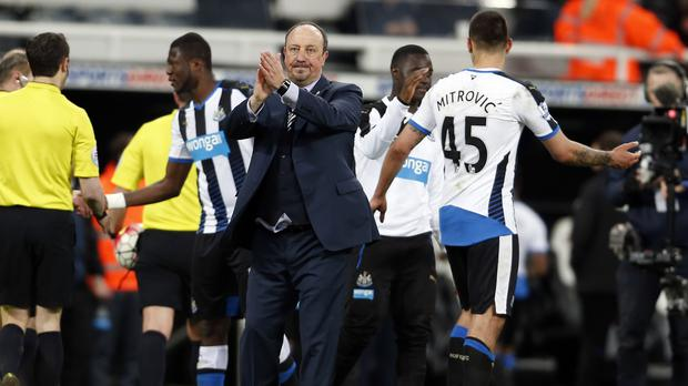 Manager Rafael Benitez, centre, is quickly turning his attention to Newcastle's next match
