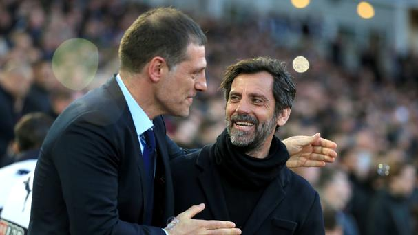 Watford manager Quique Sanchez Flores, right, saw his side beaten by Slaven Bilic's West Ham