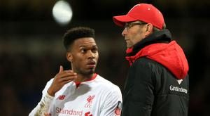 Liverpool manager Jurgen Klopp and Daniel Sturridge