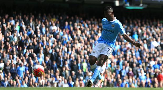 Manchester City's Kelechi Iheanacho scores their third goal against Stoke
