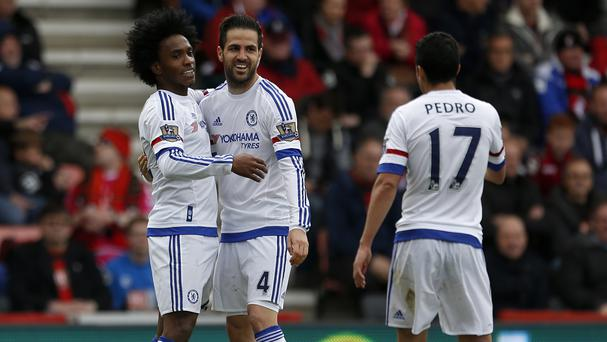 Chelsea's Cesc Fabregas, centre, put on a midfield masterclass against Bournemouth