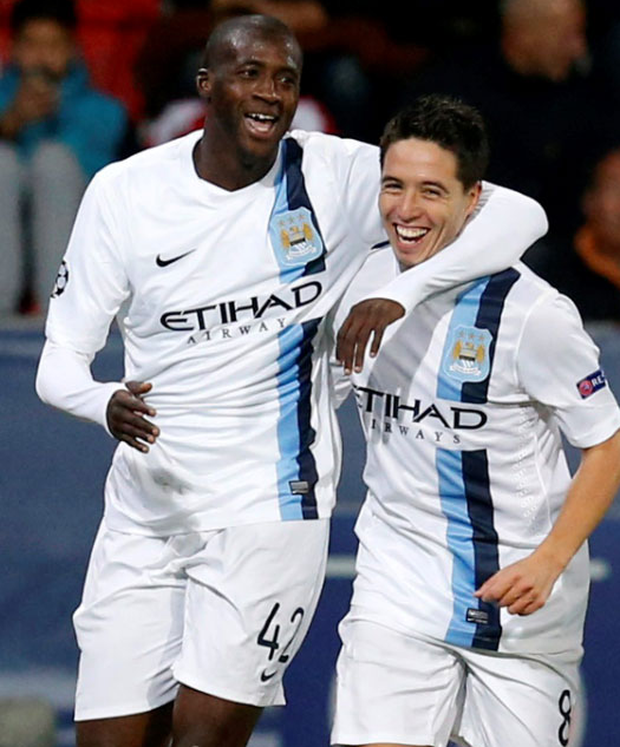 Manchester City's Yaya Toure and Samir Nasri are out of the Champions League semi-final clash with Real Madrid