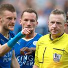 Leicester's Jamie Vardy reacts to referee Jon Moss after being sent off in the 2-2 draw with West Ham
