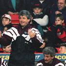 Newcastle manager Kevin Keegan during the 1996 Barclays Premier League title run-in.