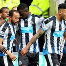 Andros Townsend, centre left, struck with 58 minutes gone to give Newcastle a precious lead
