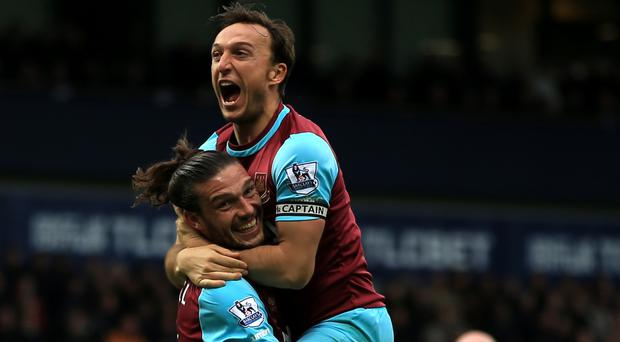 West Ham's Mark Noble celebrates his second goal with Andy Carroll