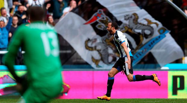 Andros Townsend celebrates his goal at St James' Park yesterday. Photo: Scott Heppell